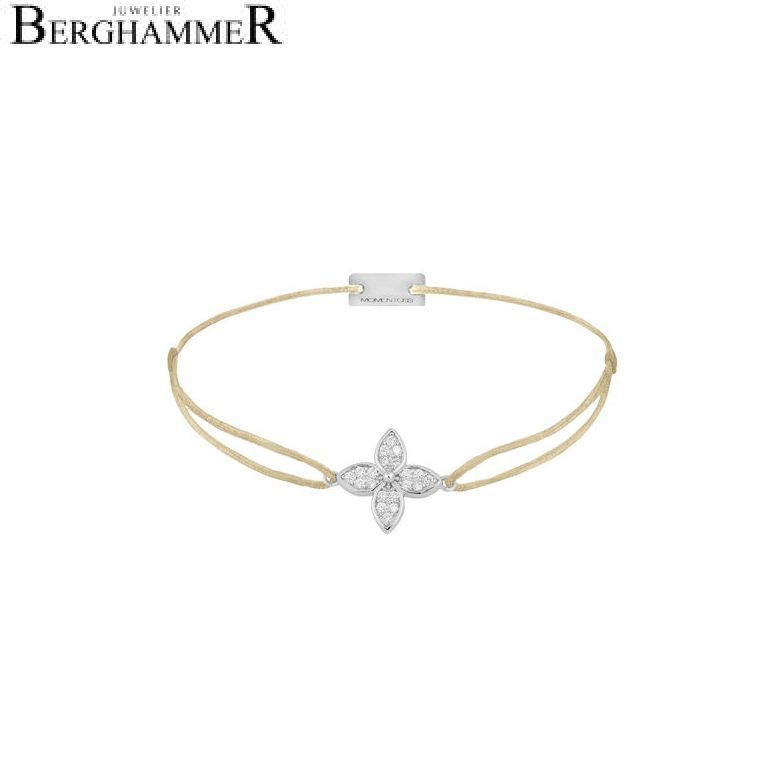 Filo Armband Textil Champagne Blume 925 Silber rhodiniert 21204014