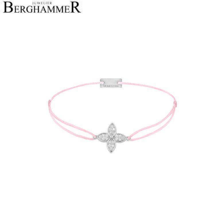Filo Armband Textil Rosa Blume 925 Silber rhodiniert 21204015
