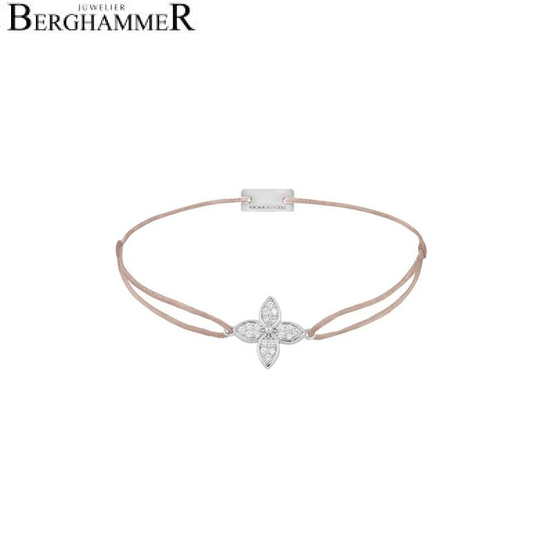 Filo Armband Textil Beige Blume 925 Silber rhodiniert 21204018