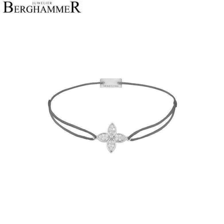 Filo Armband Textil Anthrazit Blume 925 Silber rhodiniert 21204021
