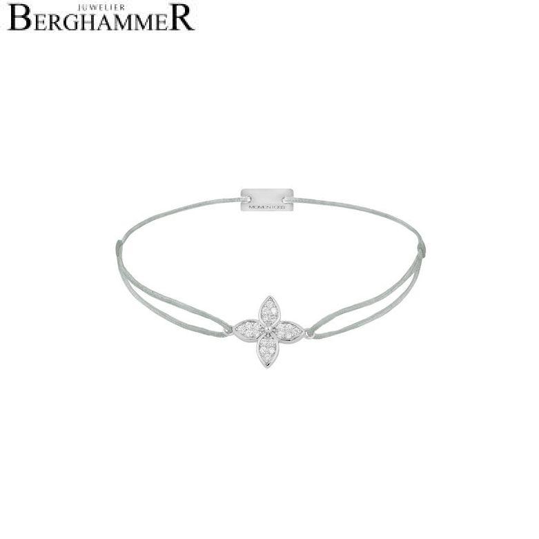 Filo Armband Textil Hellgrau Blume 925 Silber rhodiniert 21204022