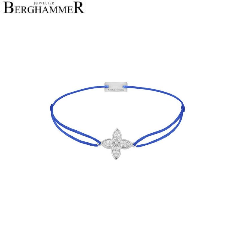 Filo Armband Textil Blitzblau Blume 925 Silber rhodiniert 21204026