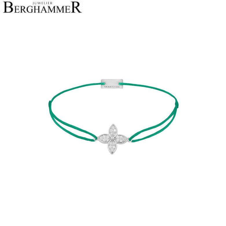 Filo Armband Textil Grasgrün Blume 925 Silber rhodiniert 21204029