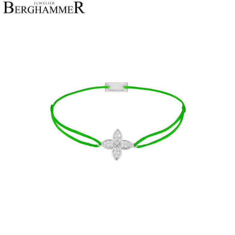 Filo Armband Textil Neon-Grün Blume 925 Silber rhodiniert 21204030
