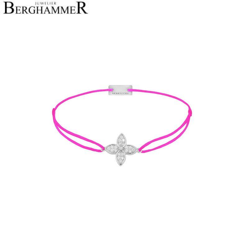 Filo Armband Textil Neon-Pink Blume 925 Silber rhodiniert 21204034