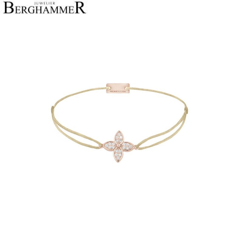 Filo Armband Textil Champagne Blume 925 Silber roségold vergoldet 21204038
