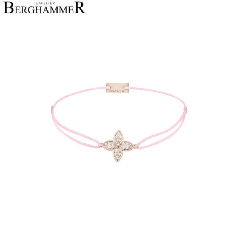 Filo Armband Textil Rosa Blume 925 Silber roségold vergoldet 21204039