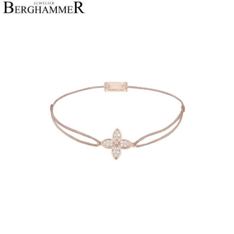 Filo Armband Textil Beige Blume 925 Silber roségold vergoldet 21204042
