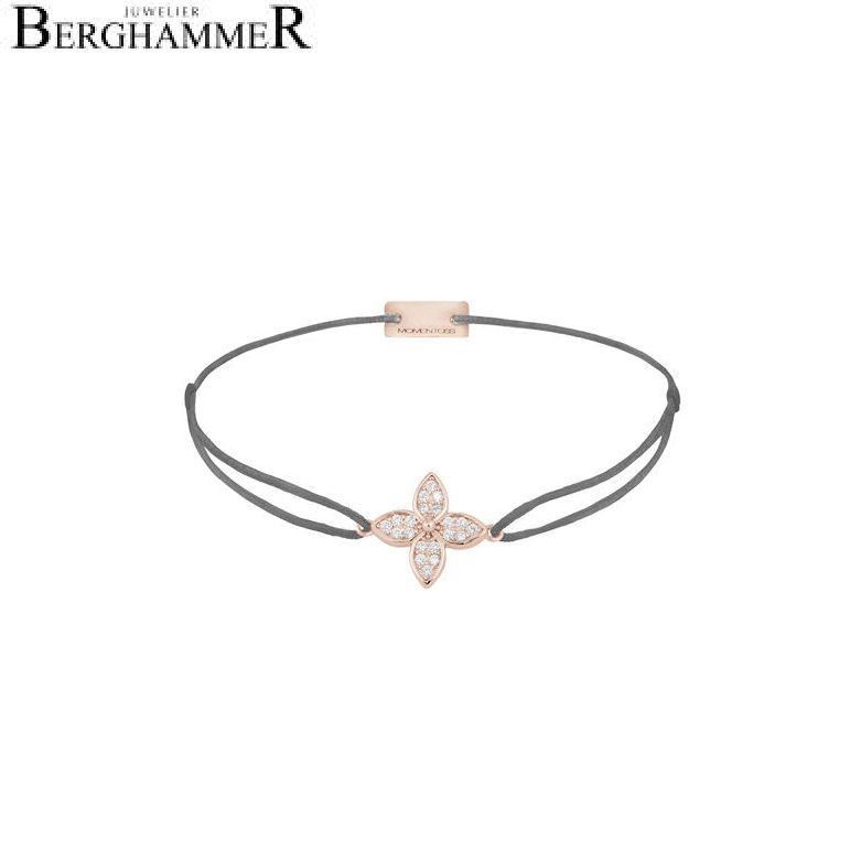 Filo Armband Textil Anthrazit Blume 925 Silber roségold vergoldet 21204045