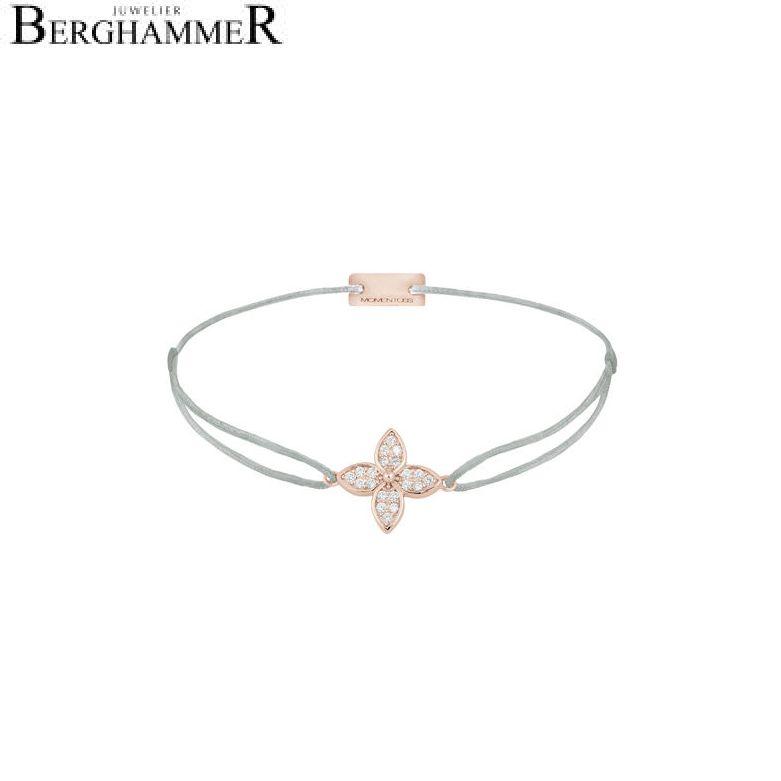 Filo Armband Textil Hellgrau Blume 925 Silber roségold vergoldet 21204046