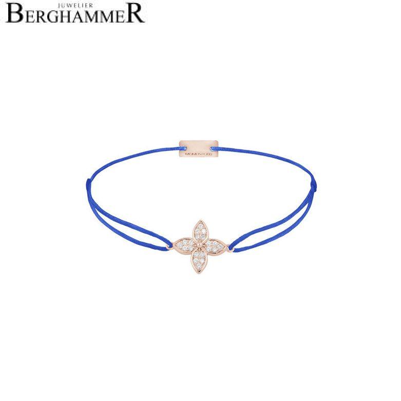Filo Armband Textil Blitzblau Blume 925 Silber roségold vergoldet 21204050