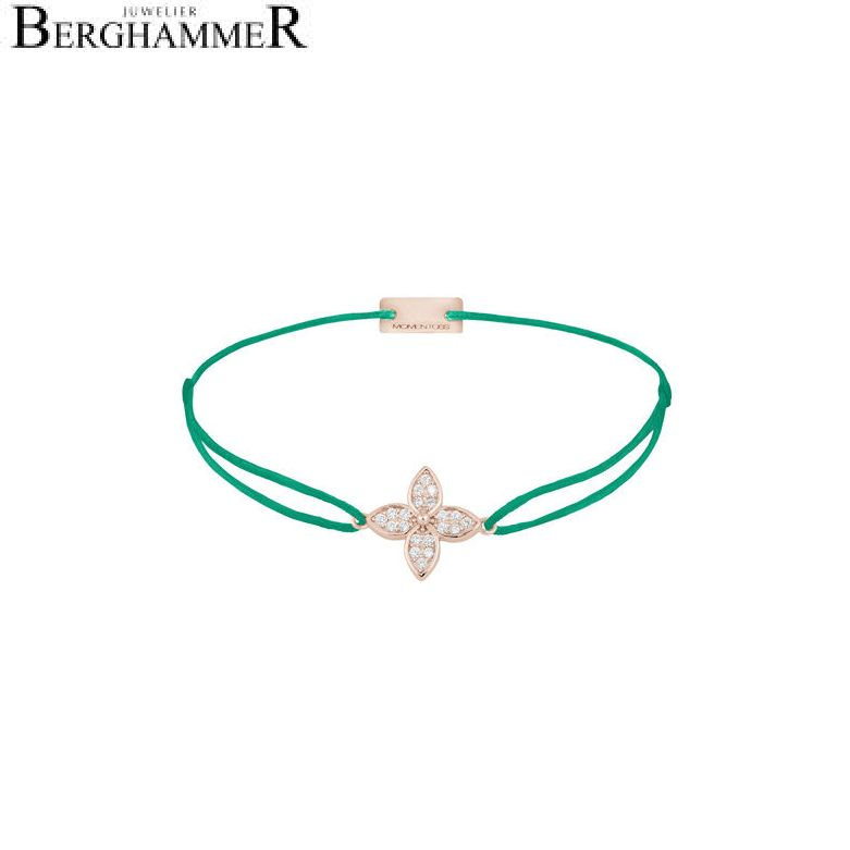 Filo Armband Textil Grasgrün Blume 925 Silber roségold vergoldet 21204053