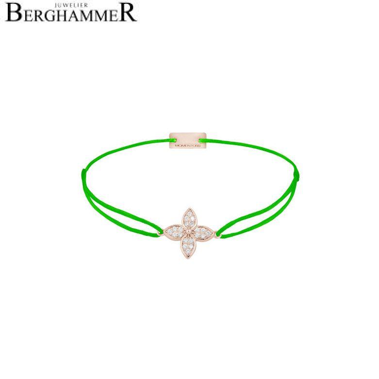 Filo Armband Textil Neon-Grün Blume 925 Silber roségold vergoldet 21204054
