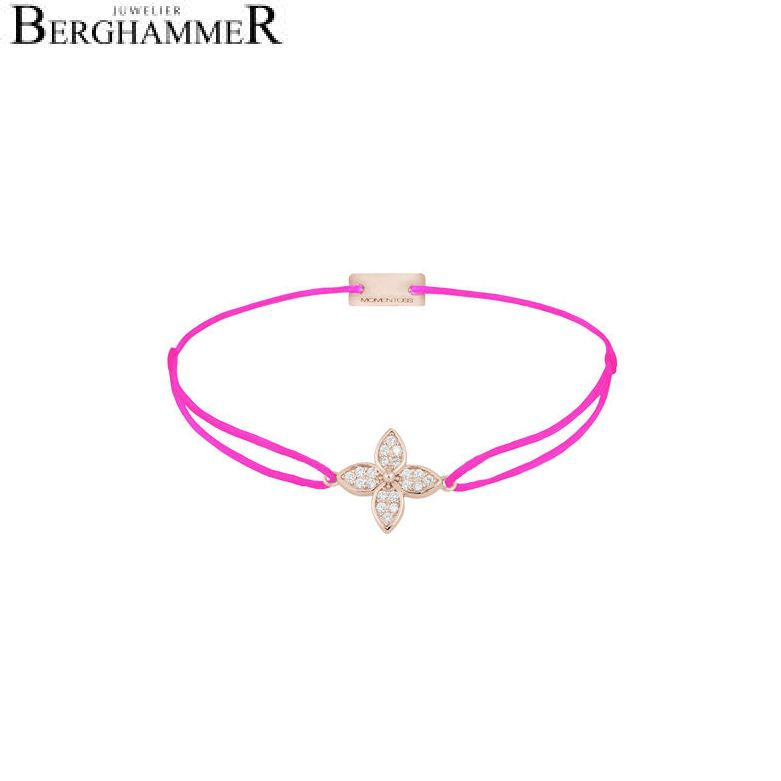 Filo Armband Textil Neon-Pink Blume 925 Silber roségold vergoldet 21204058