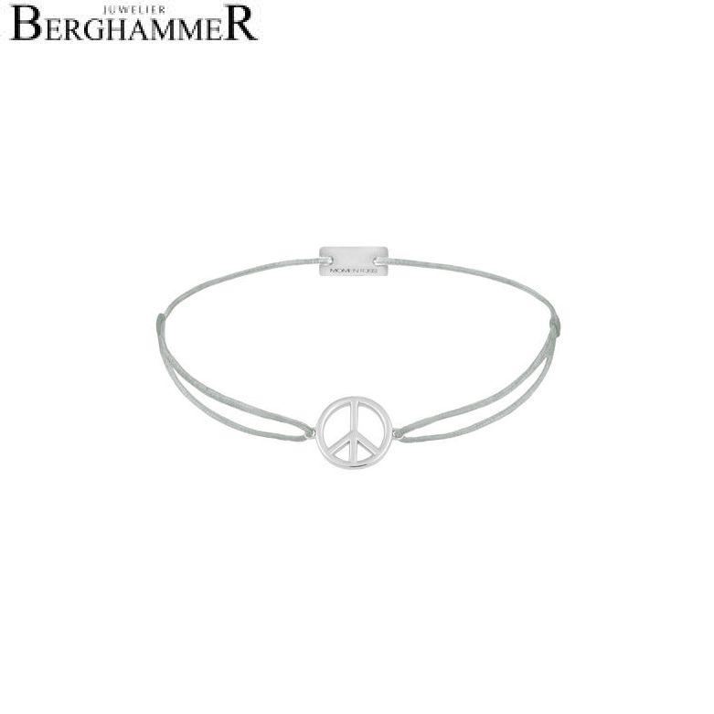 Filo Armband Textil Hellgrau Peace 925 Silber rhodiniert 21204070