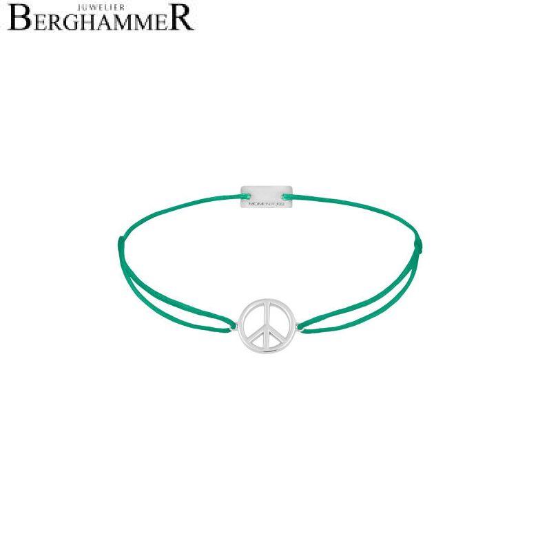 Filo Armband Textil Grasgrün Peace 925 Silber rhodiniert 21204077