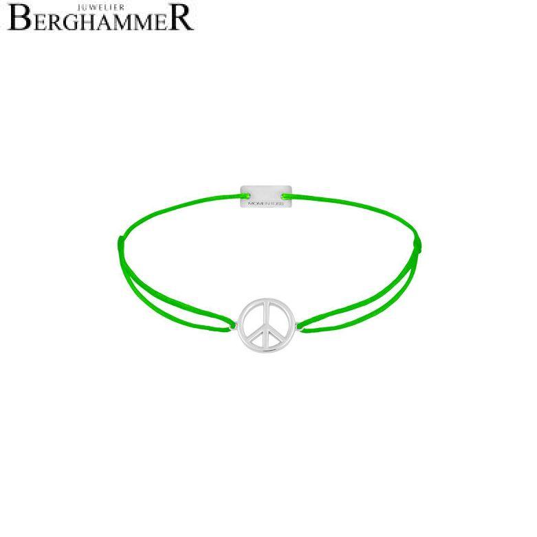 Filo Armband Textil Neon-Grün Peace 925 Silber rhodiniert 21204078