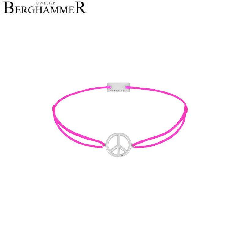 Filo Armband Textil Neon-Pink Peace 925 Silber rhodiniert 21204082