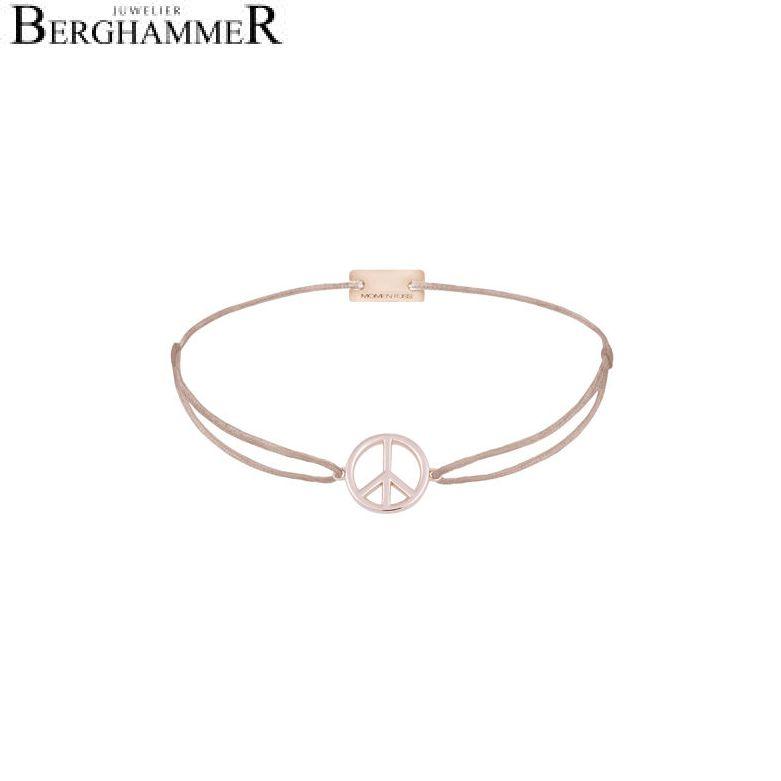 Filo Armband Textil Beige Peace 925 Silber roségold vergoldet 21204090