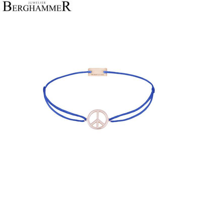 Filo Armband Textil Blitzblau Peace 925 Silber roségold vergoldet 21204098