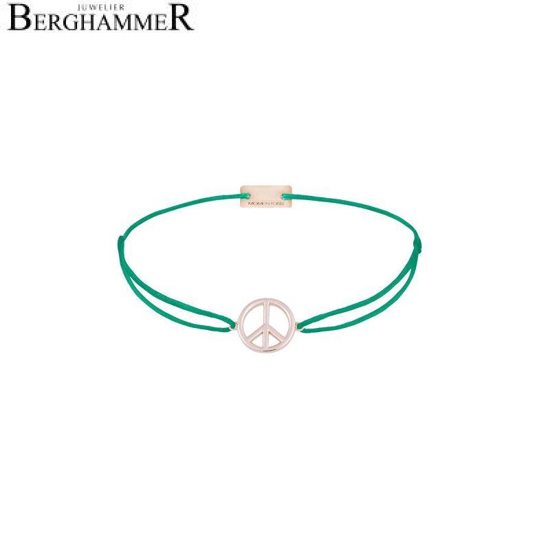 Filo Armband Textil Grasgrün Peace 925 Silber roségold vergoldet 21204101