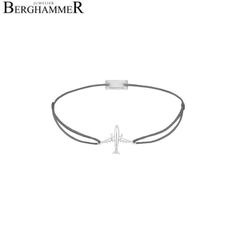 Filo Armband Textil Anthrazit Flugzeug 925 Silber rhodiniert 21204117
