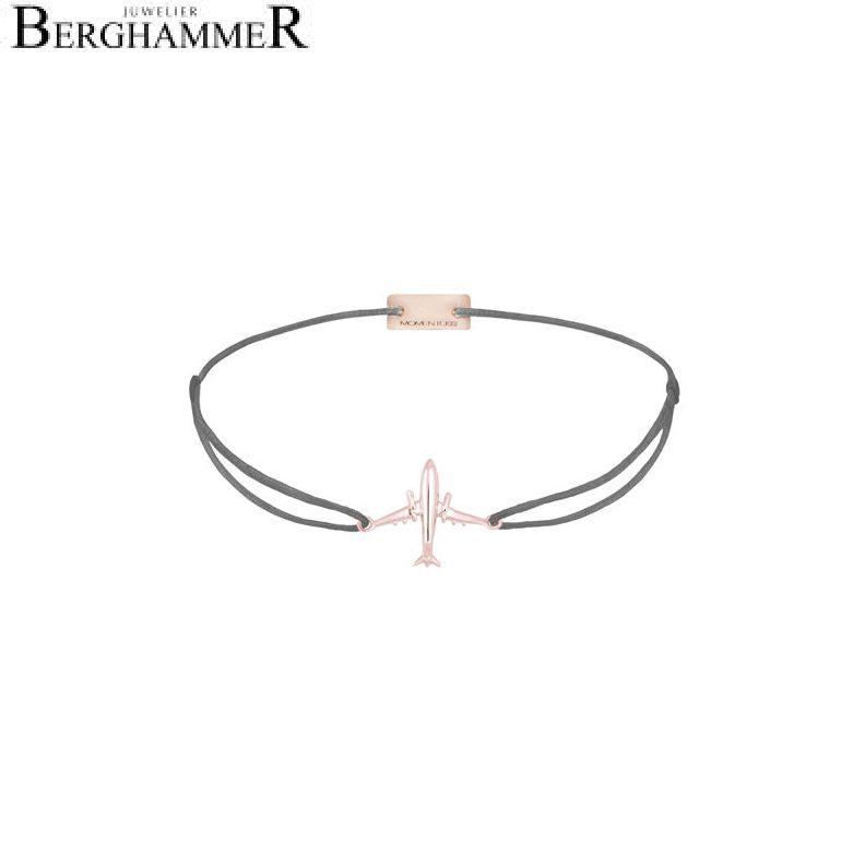 Filo Armband Textil Anthrazit Flugzeug 925 Silber roségold vergoldet 21204141