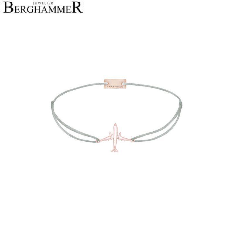 Filo Armband Textil Hellgrau Flugzeug 925 Silber roségold vergoldet 21204142