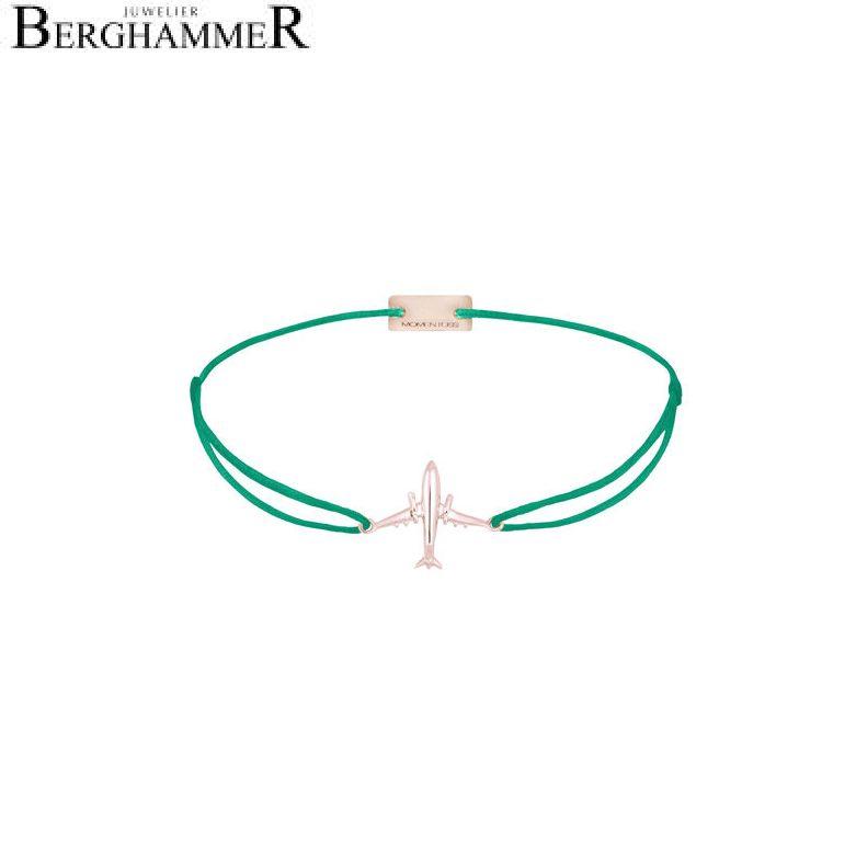 Filo Armband Textil Grasgrün Flugzeug 925 Silber roségold vergoldet 21204149