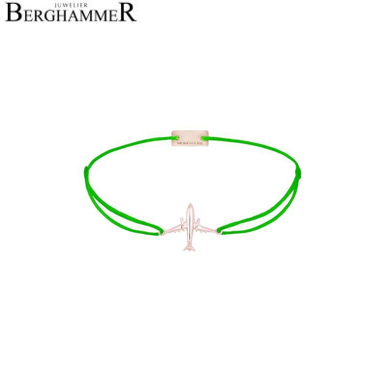 Filo Armband Textil Neon-Grün Flugzeug 925 Silber roségold vergoldet 21204150