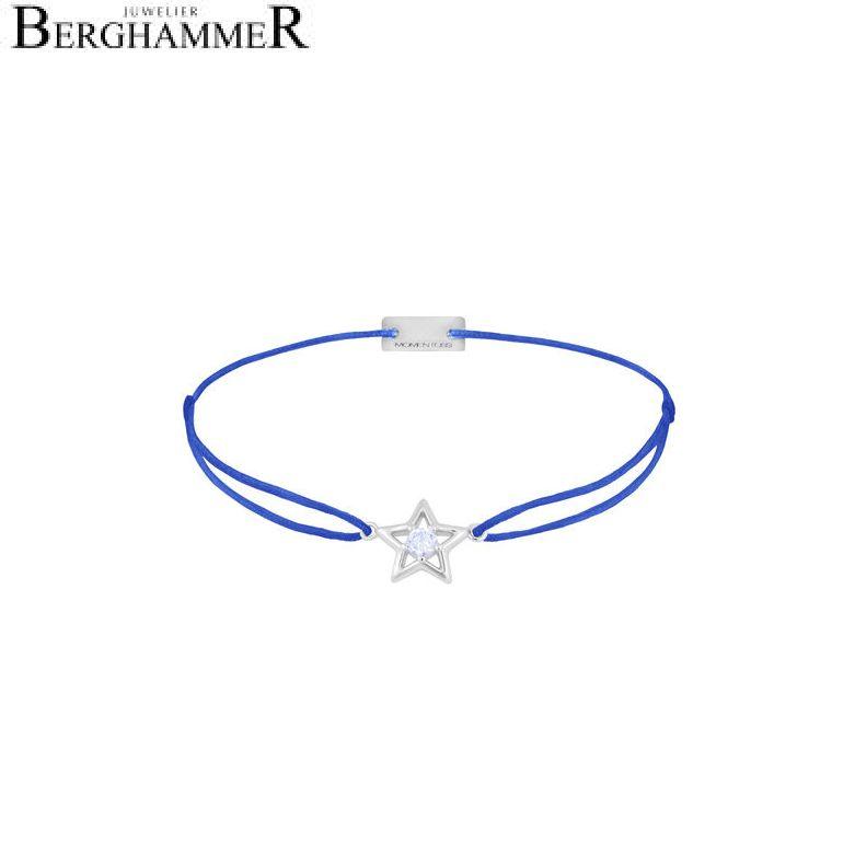 Filo Armband Textil Blitzblau Stern 925 Silber rhodiniert 21204170