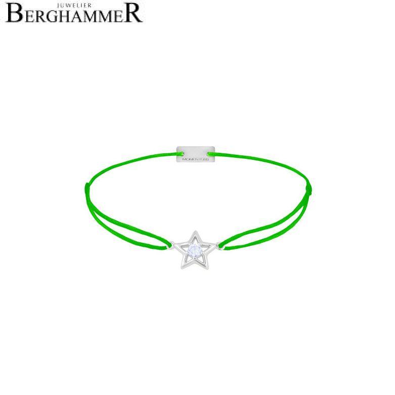 Filo Armband Textil Neon-Grün Stern 925 Silber rhodiniert 21204174