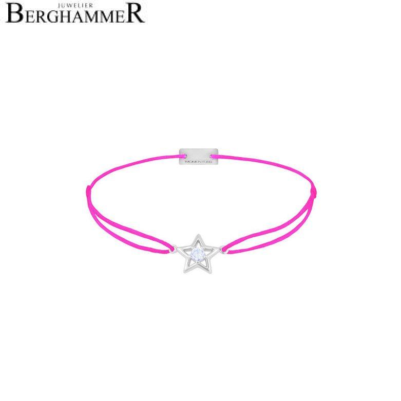 Filo Armband Textil Neon-Pink Stern 925 Silber rhodiniert 21204178