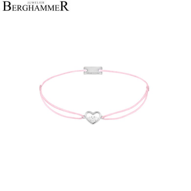 Filo Armband Textil Rosa Herz 925 Silber rhodiniert 21204207