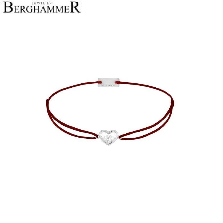 Filo Armband Textil Braun Herz 925 Silber rhodiniert 21204211