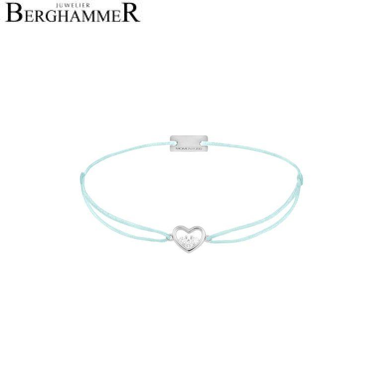 Filo Armband Textil Mint Herz 925 Silber rhodiniert 21204215