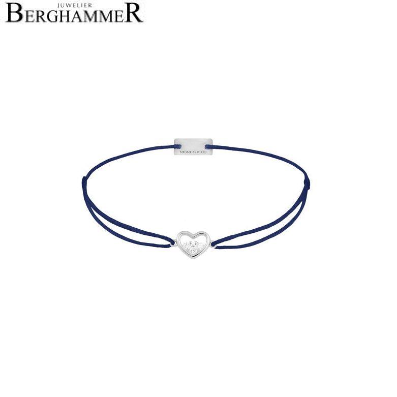 Filo Armband Textil Dunkelblau Herz 925 Silber rhodiniert 21204219