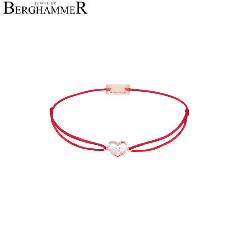 Filo Armband Textil Rot Herz 925 Silber roségold vergoldet 21204228