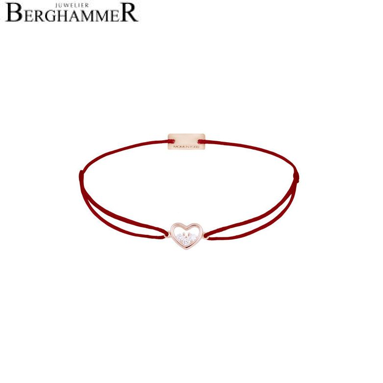 Filo Armband Textil Weinrot Herz 925 Silber roségold vergoldet 21204232