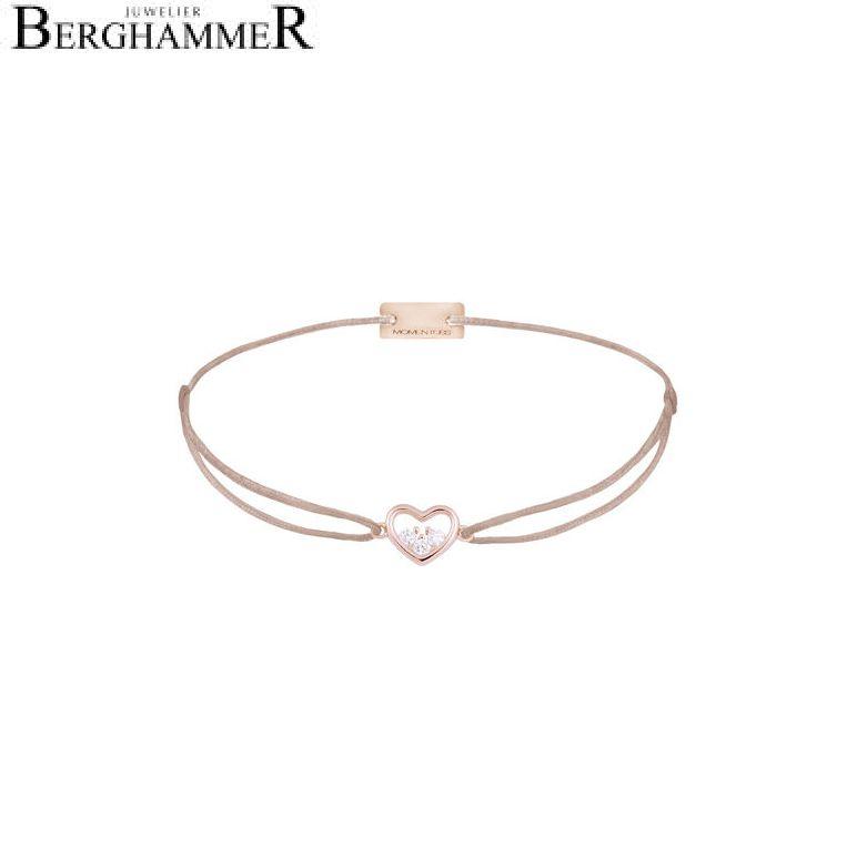 Filo Armband Textil Beige Herz 925 Silber roségold vergoldet 21204234