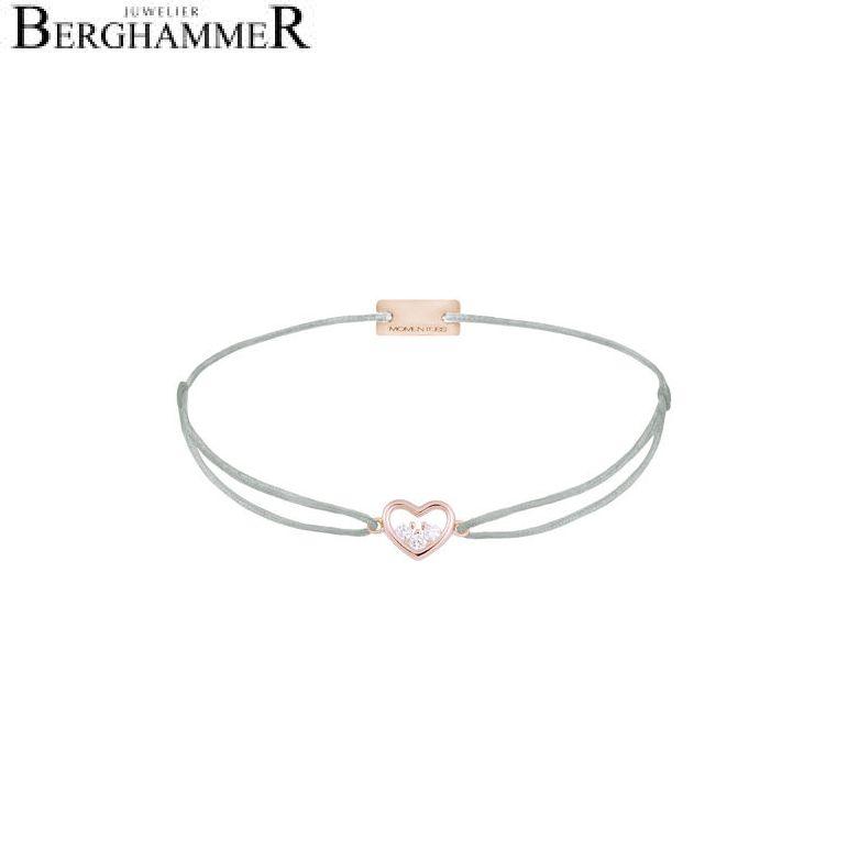 Filo Armband Textil Hellgrau Herz 925 Silber roségold vergoldet 21204238