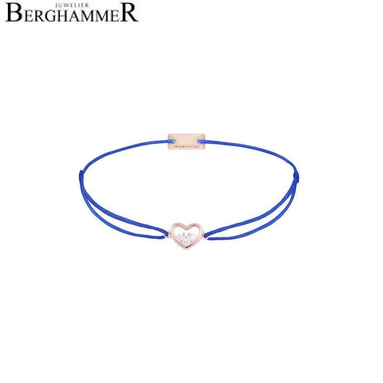 Filo Armband Textil Blitzblau Herz 925 Silber roségold vergoldet 21204242