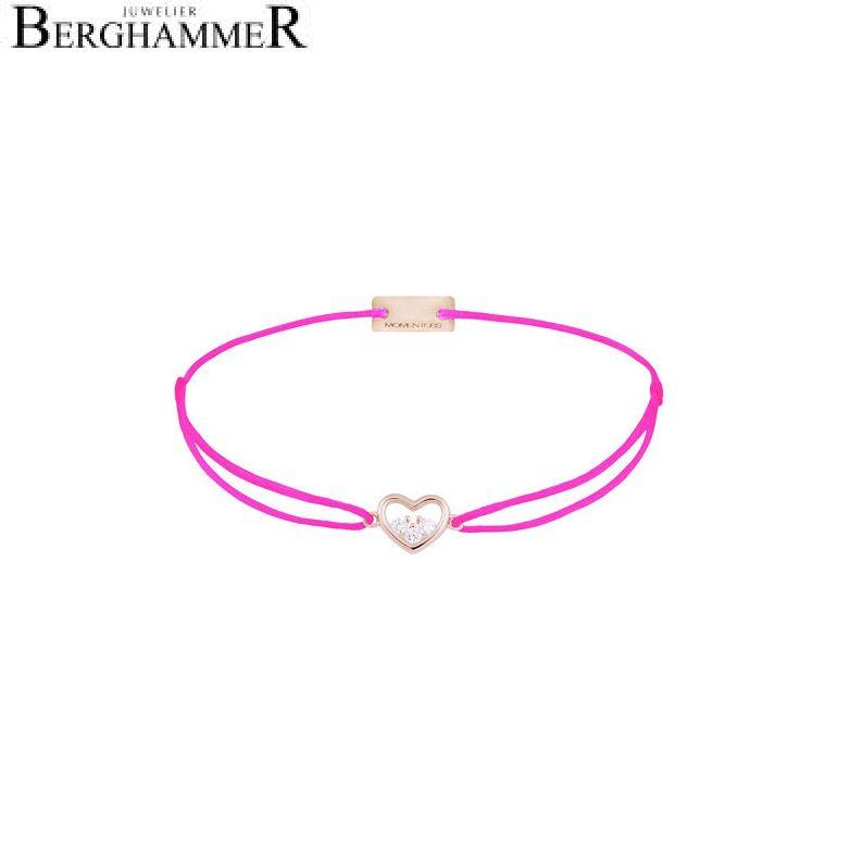 Filo Armband Textil Neon-Pink Herz 925 Silber roségold vergoldet 21204250