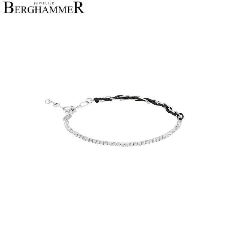 Unico Armband Schwarz Zirkonia weiß 925 Silber rhodiniert 21700025
