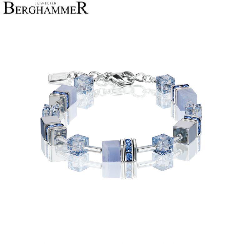 GeoCUBE® Armband Chalzedon & Hämatit hellblau