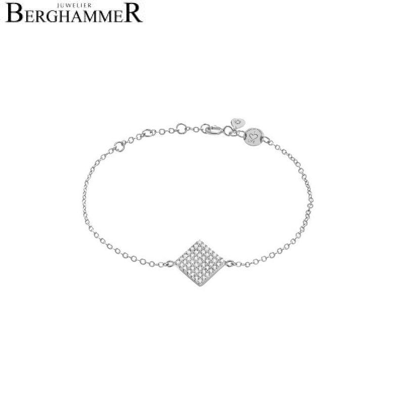 LaViida Armband Quadrat pavé 925 Silber rhodiniert BLU609RH