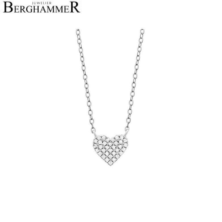 LaViida Halskette Herz pavé 925 Silber rhodiniert NLU602RH