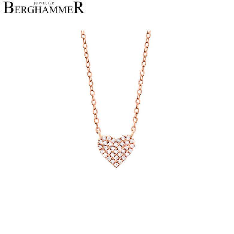 LaViida Halskette Herz pavé 925 Silber roségold vergoldet NLU602RG