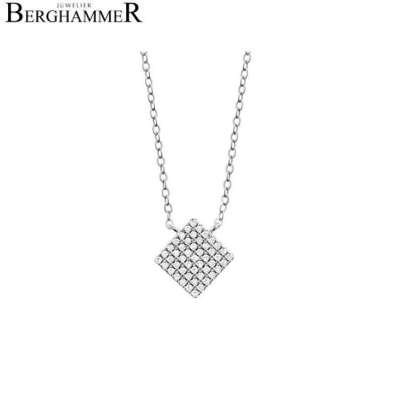 LaViida Halskette Quadrat pavé 925 Silber rhodiniert NLU609RH