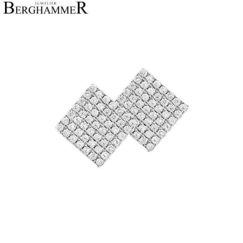 LaViida Ohrschmuck Quadrat pavé 925 Silber rhodiniert ELU609RH